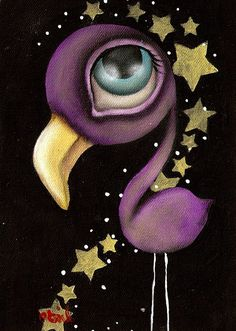 Purple Flamingo by Abril Andrade Griffith Big Eye Canvas Art Print