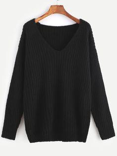 20$  Buy now - http://divdj.justgood.pw/go.php?t=13326 - Black Ribbed Knit V Neck Drop Shoulder Sweater 20$