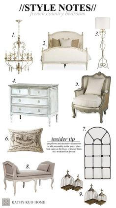 Style Notes: Designing a French Country Bedroom. How to get the look, and tips to help you make it your own. #kathykuohome by Maiden11976
