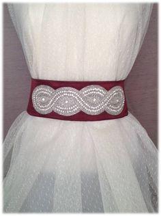Georgette Belt, from the Something New collection - Bright Wedding Crystal Beaded Satin Sash, Bridal Belt, Rhinestone Sash by SomethingTreasured8, $150.00