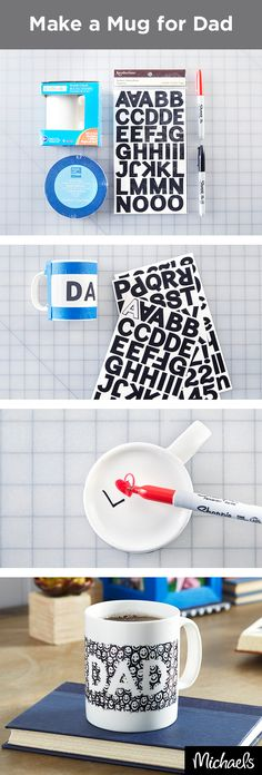 "Doodle Dad a new mug for Father's Day in just a few simple steps. After washing and drying the mug, tape off the top and bottom & add adhesive stickers to spell out ""Dad"". Next, use a Sharpie® marker to fill in the space with smiley faces. Let your doodles dry and remove the stickers to reveal your masterpiece. Dad is sure to love this handmade mug! Find everything you need for this project at your local Michaels store and make this Father's Day gift one to remember."