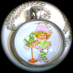 LIME CHIFFON . Glass Pendant Necklace . Strawberry by girlgamegeek, $11.11