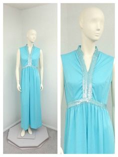 Vintage 60s Aqua Blue Sequined Maxi Dress Sequin by SprightlyVogue