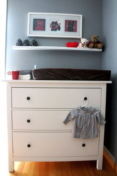 I love using a chest of drawers for a changing table--so practical with everything close at hand, and you can use it for years later as the baby grows up.