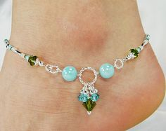Anklet, Ankle Bracelet, Aqua Blue Jade Jewelry Semi Precious Anklet Beaded Anklet Gift for Her Cruise Jewelry Beach Vacation Ankle Jewelry