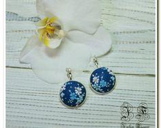 Dark Blue Dangle Earrings Floral Earrings Spring Jewelry Drop