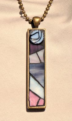 Purple Mosaic Pendant Necklace by MosaicGeek on Etsy, $30.00