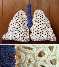 Lungs and other crazy knit things- like your favorite science fiction characters, lab disections, etc.