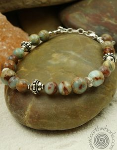 Aqua Terra Jasper & Sterling Silver bracelet by EarthWhorls.  One of a kind, handmade, natural stone and sterling silver jewelry for women.  Free shipping on all orders.