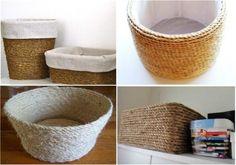 Cubra qualquer recipiente plástico ou de papelão com Sisal e cola quente.