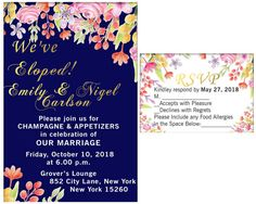 Items similar to Elopement Party Invitation and RSVP, Elopement Party Watercolor Wedding Invitation, Elopement Invitation We Eloped, Just Married Digital on Etsy Watercolor Wedding Invitations, Party Invitations, Elopement Party, Mini Champagne, Wedding Labels, Just Married, Rsvp, Print Design, Marriage