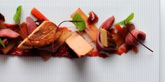 This is a foie gras recipe of real finesse, award-winning chef Alan Murchison serving the delicacy with fresh slices of rhubarb and a rhubarb chutney Rhubarb Chutney, Great British Chefs, Food Plating, Plating Ideas, Food Presentation, Beetroot, Fine Dining, Food Styling, Gourmet
