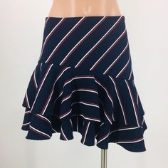 Express Skirts | Express Ponte Knit Ruffle Navy Red Striped Skirt | Poshmark Ruffle Skirt, Red Stripes, Size 00, Blossoms, Navy, Knitting, Pretty, Skirts, How To Wear