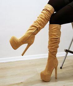 1c1acd93e328 Cream Suede Platform Boots – Tajna Club Winter Heel Boots