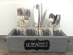 Perfect for ~fancy~ dinners or everyday use, this rustic utensil organizer is a decoration all it's own. | 24 Clever Ways To Get Organized From Etsy
