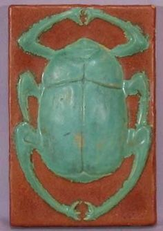 Arts & Crafts Scarab Tile. Circa 1902.
