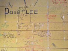 Photo 2 of wall graffiti from Boys old Work Crew quarters when the siding was removed (2013)  #malibu #younglife #malibuclub #ylMalibu #ylMalibuclub