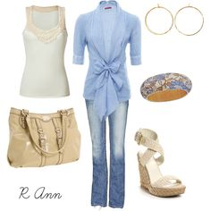 lace tank with powder blue tie cardigan, matching bracelet