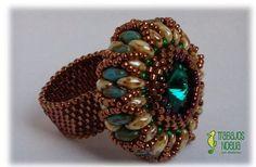 Ring Tutorial, Bracelet Tutorial, Beading Tutorials, Beading Patterns, Super Duo Beads, Beaded Jewelry Designs, Handmade Rings, Beaded Rings, Seed Beads