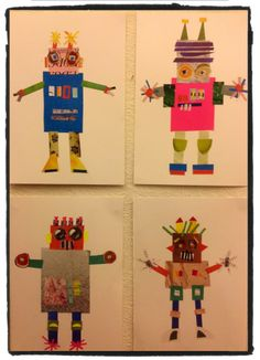 My stuff - collage robots, made by the children in my kindergarten