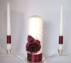 Unity Candle Wedding Burgundy Claret Rose by PleasantRidgeCandles, $38.00
