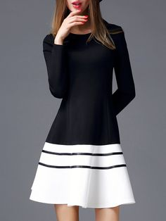 Shop Midi Dresses - Cotton-blend A-line Simple Color-block Long Sleeve Midi Dress online. Discover unique designers fashion at StyleWe.com.