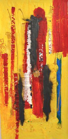 INDIA - Novo trabalho de ISABEL PINHEIRO. Técnicas mistas, colagens, tintas acrílicas, etc. fazem esta obra lembrar as côres da India, as suas especiarias, os seus tons amarelos, ocre, etc. 155alt. x 75larg. Outras obras em www.isabelpinheiro.com
