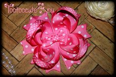 Pink Hair Bow  4 inch  Swiss Dot  Boutique Hair by tootoocute4you