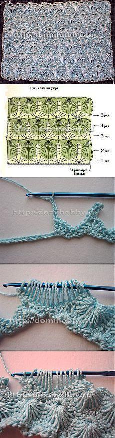 Искрящийся узор крючком, с описанием и фото