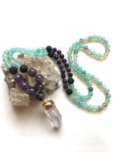 108 Amethyst and Quartz Mala Necklace with Lava Beads