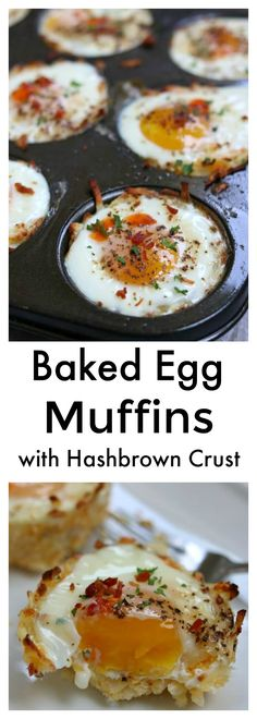Baked Egg Muffins with Hash Brown Crust: cheesy hash brown nests filled with a perfectly cooked baked egg and topped with a drop of hot sauce and crispy bacon crumbles. A perfect eat-on-the-go breakfa (Baking Dinner Eggs) Breakfast Casserole Muffins, Egg Muffins, Breakfast Bake, Breakfast Buffet, Omelette Muffins, Egg Recipes, Brunch Recipes, Breakfast Recipes, Cooking Recipes