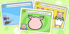 These lovely playdough mats are a great cross-curricular activity! Use them to enhance your playdough area and encourage your children to get creative - all you need to do is laminate them! Fairy Tale Activities, Quiet Time Activities, Rhyming Activities, Pig Crafts, Traditional Tales, Barnyard Party, Third Grade Science, Three Little Pigs, Farm Theme
