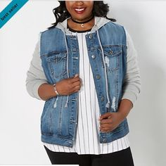 RUE21 denim jacket with hood RUE21 denim and knit hooded jacket. SO CUTE! Denim jackets are so in right now! From rue21 plus size line. Size 2X. I sized up because I didn't know how it fit. But I should have stuck with my genuine size. Fits TRUE TO SIZE. Is not cropped. Regular length. BRAND NEW WITH TAGS! Paid 34.99 plus shipping. Details: crafted with a vintage wash with rips and tears,featuring French terry knit sleeves and a hood. Drawstring knit hood. 2 front pockets;2 chest pockets…