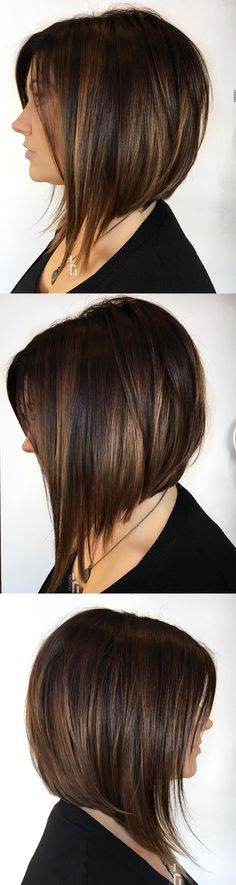 92 Layered Inverted Bob Hairstyles That You Should Try Style Easily- angled bob haircuts bob hairstyle balayage Inverted Bob Hairstyles, Bob Hairstyles With Bangs, Bob Haircut With Bangs, Haircuts For Fine Hair, Woman Hairstyles, Prom Hairstyles, Medium Hair Cuts, Short Hair Cuts, Medium Hair Styles