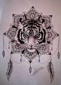 Blue Eyes Tiger Head On Mandala Flower Tattoo Design