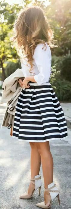 Classic Stripe Skirt from Chicwish / Fashion by Lace and Locks