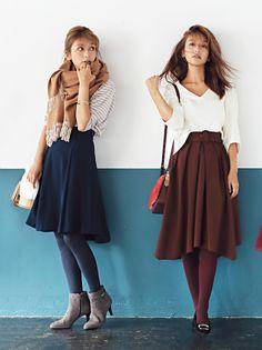 カラータイツで脚長効果♪ 小柄女子のスタイルアップ術 #大石参月 #カラータイツ #fashion #women #tights Wool Tights, Tights Outfit, Store Fronts, Midi Skirt, High Waisted Skirt, Autumn Fashion, Burgundy, Fall Winter, Women Wear