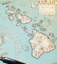 Fun Hawaii Map - Spring Break - Cottage Chic - Home Decor - Wall Decor - A Fun and Funky Little Vintage Map to Frame