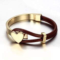 18k gold bracelet brown and gold color