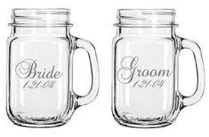Bride and Groom With Wedding Date Mason Jars by WulfCreekDesigns, $32.99