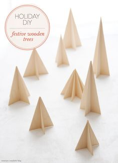 DIY Festive WoodenTrees | Shared on Creature Comforts Blog in partnership with @Waverly