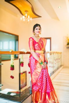 Shopzters is a South Indian wedding site Pattu Sarees Wedding, Wedding Saree Blouse Designs, Half Saree Designs, Blouse Designs Silk, Bridal Sarees South Indian, Wedding Silk Saree, South Indian Bride, Kerala Bride, Bridal Outfits