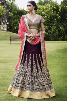 Shop online for attractive long lehenga choli designs. Buy now! This extraordinary georgette wine a line lehenga choli. Lehenga Choli Online, Ghagra Choli, Bridal Lehenga Choli, Indian Skirt, Indian Dresses, Indian Outfits, Indian Clothes, Eid Dresses, Indian Attire
