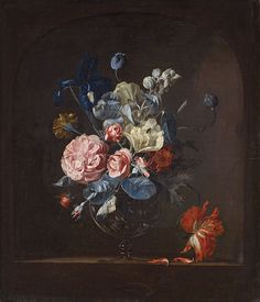 Willem van Aelst (1626-1683) —  A Vase with Roses, Iris, Marigold and Tulip in a Niche, 1659  (1300X1517)