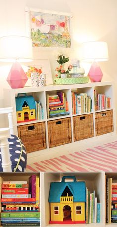 Ikea Expedit book case with natural bins.  Love this room!     Found on Hellobee.com! Lillys-Room-05 - 1