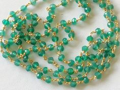 WHOLESALE 5 FEET Green Onyx Faceted Rondelle by gemsforjewels