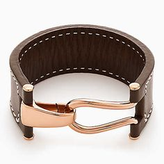 Equestrian style leather and polished brass bracelet