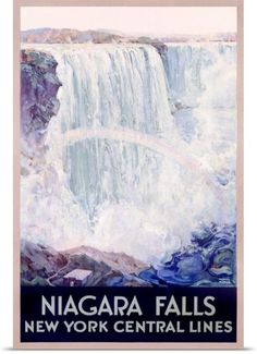 Poster Print Wall Art Print entitled Niagara Falls, New York Central Lines, Vintage Poster, by Frederic Madan, None