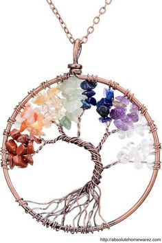 Handcraft wire wrapped natural crystal tree of life pendant necklace. The Natural Gemstone are good for health and have been used in science, religion, philosophy, mythology, and other areas for thousands of years.Promotes beauty, health, good luck, and healing. Natural Gemstones include:Quartz Crystal (crown chakra),Pink crystal (sacral chakra),Amethyst (third-eye chakra),Green Aventurine (heart chakra),Blue-veins stone (throat chakra),Red agate (root chakra),Redstone (navel chakra)