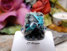 Blue Moon Turquoise Ring Shirley Jackson Design by ShirleyJDesigns